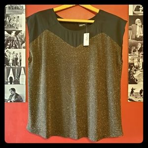 Black and Gold Short Sleeve Plus Top